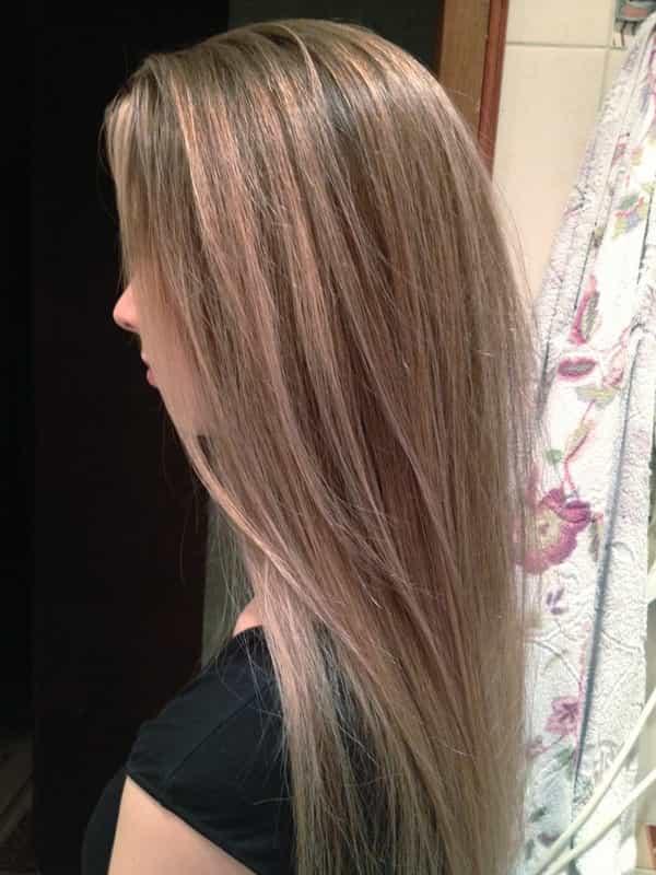 балаяж фото на темные волосы средней длины
