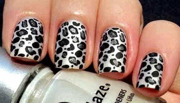 Леопардовый маникюр в фиолетовых оттенках