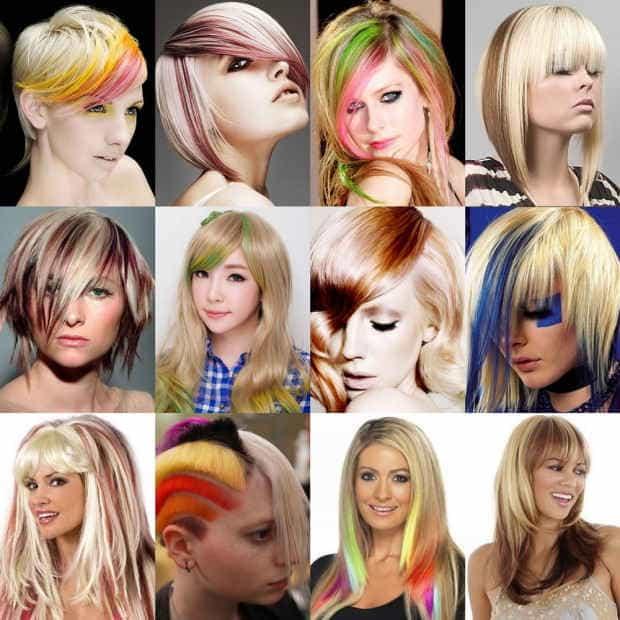 Цветное мелирование на короткие волосы