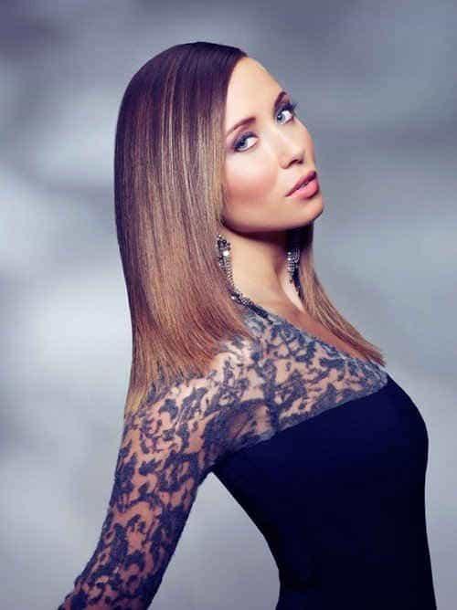Растяжка цвета на волосах средней длины