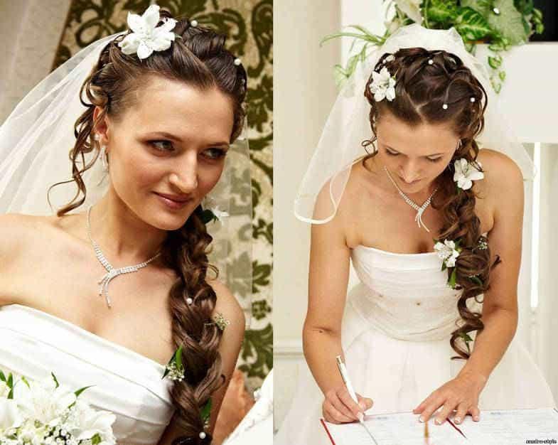 особенно популярны такие прически у невест