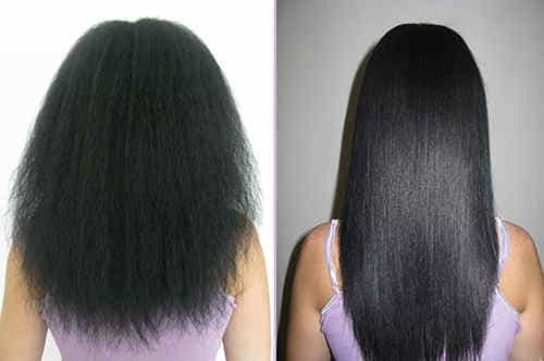 лечение и восстановление волос в салоне. Состояние после комплекса процедур