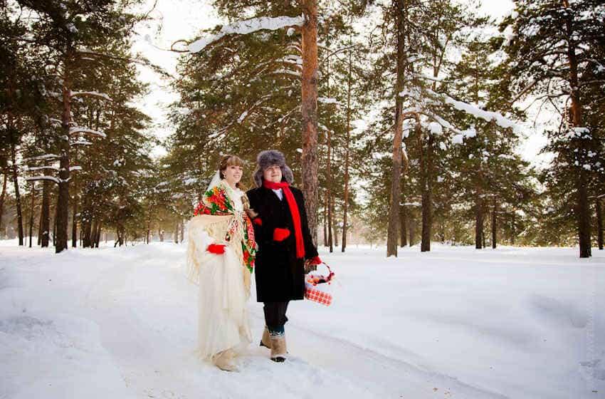 свадьба в русском стиле зимой