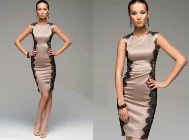 платье-футляр с кружевом