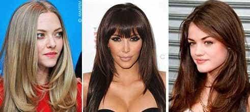 Стрижки на длинных волосах для треугольного лица
