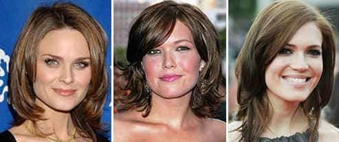 Стрижки на волосы средней длины для квадратного лица